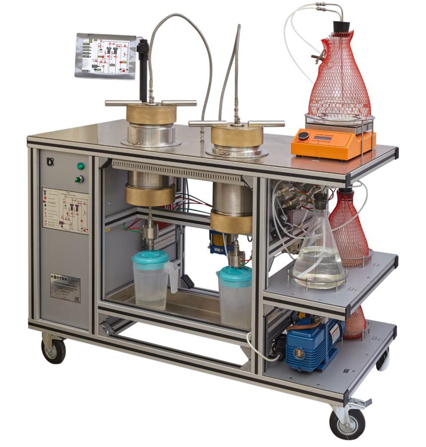 Установка насыщения и донасыщения керна жидкостью с системой промыва